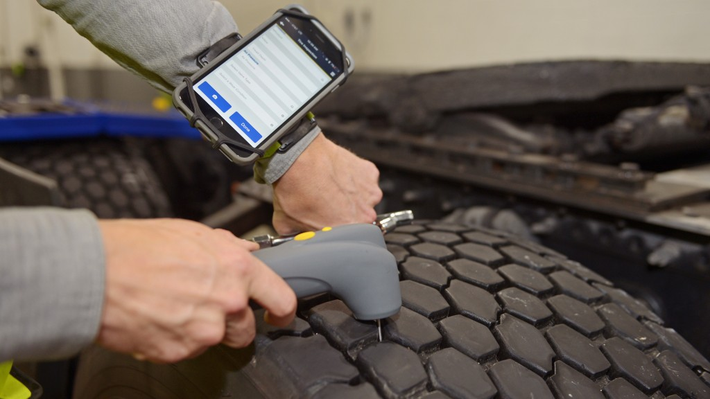 A tire check using Goodyear's new Tire Optix system.
