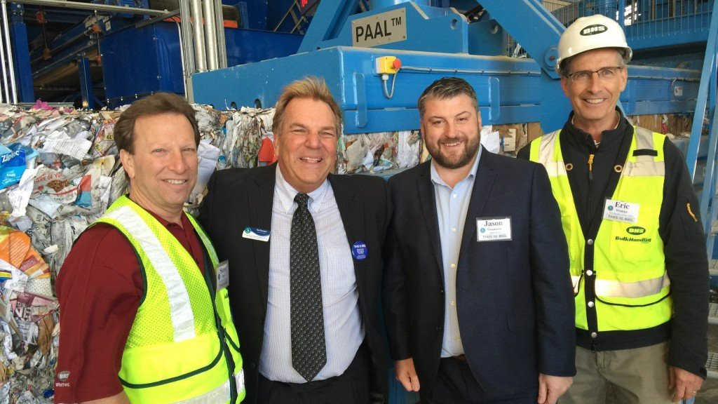 From left: Steve Miller, CEO BHS; Tim Flanagan, GM of the Monterey Regional Waste Management District; Jason Greatorex, U.S. leader of Kadant PAAL; and project leader Eric Winkler of BHS.