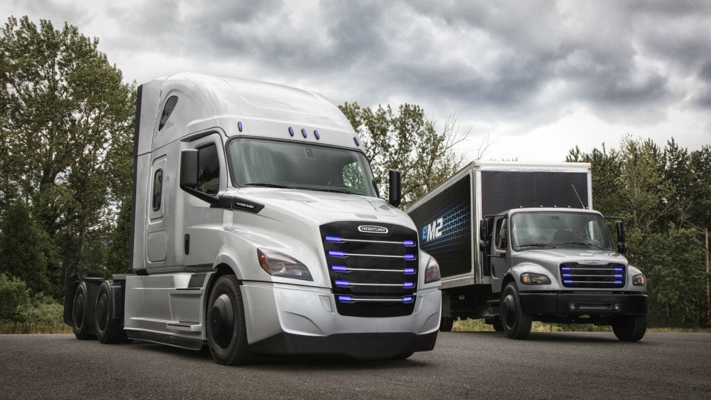 The Freightliner eCascadia and eM2 electric vehicles.