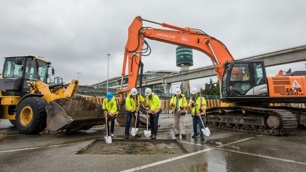 Local and regional officials do the honours at YVR's groundbreaking ceremony, the kickoff for more than $9 billion in major projects at the airport.
