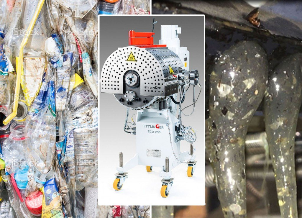 The fines which are created when PET bottles (left) are recycled contain up to 1.5% solid, gel-like or cross-linked contaminants. By incorporating Ettlinger's ECO high performance melt filters into the extrusion process, these substances can be continuously and almost completely removed from the melt (right).