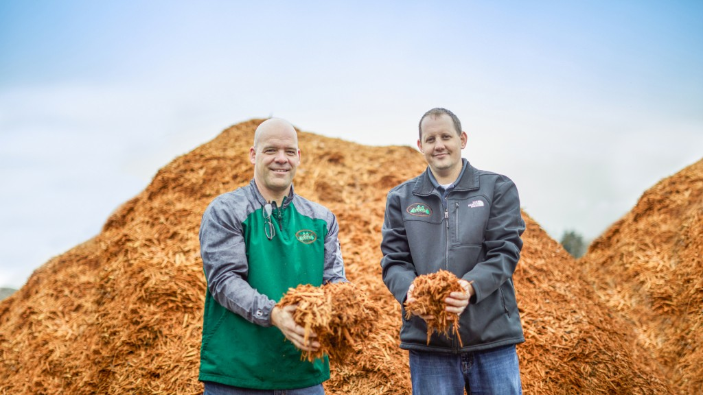Cliff Walkington and Lee Hammond Jr. on site at Hammond Farms with their finished mulch.