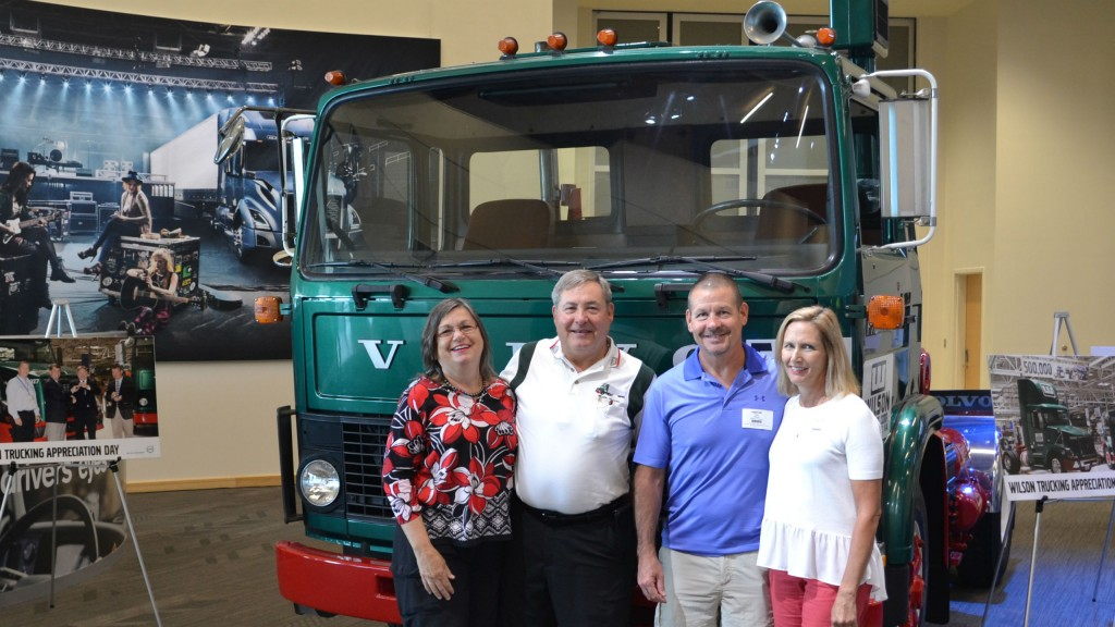 Left to Right: Ginny and Chuck Wilson and Guy and Rebecca Wilson with the 1982 Volvo F7.