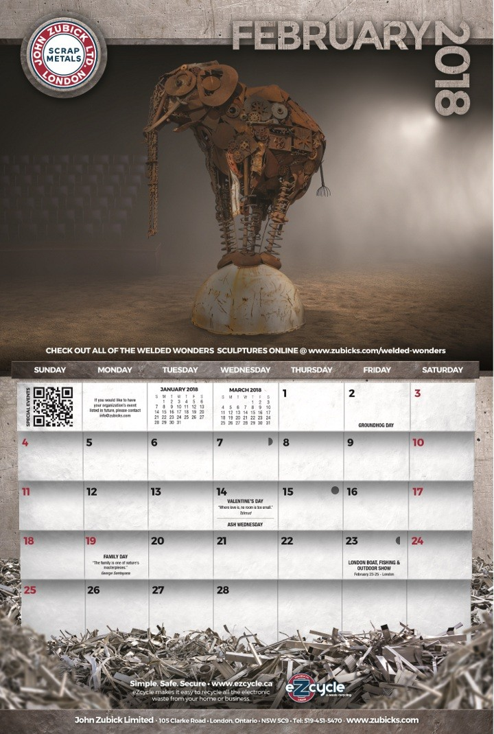 Marketing firm repeats honours in competition for calendar showing scrapyard art