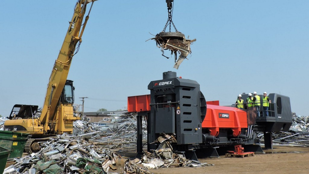 The Copex Reflex mobile scrap shear/baler/logger from ShearCore is specifically designed for the shearing and compacting of welded structures, white goods, car bodies, collected scrap and all kinds of non-ferrous metals.