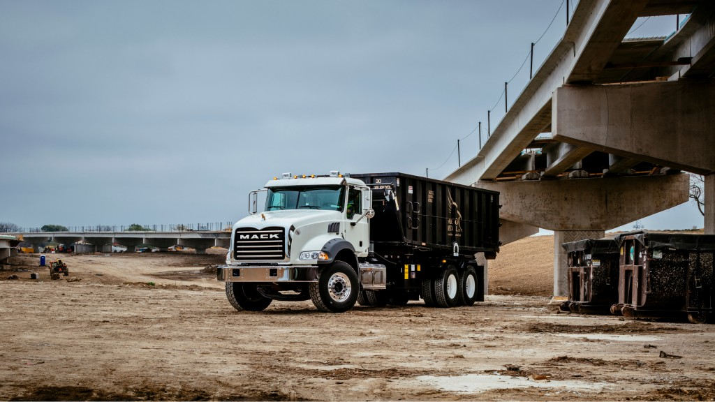 The Mack Granite (here in a roll-off configuration) as well as LR and TerraPro models, are now available with pre-wired Lytx DriveCam technology.