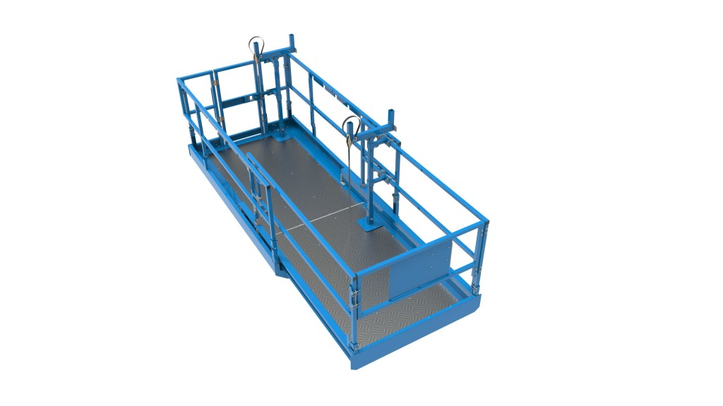Genie Lift Tools Material Carrier attachment for scissor lifts accommodates a wide range of materials