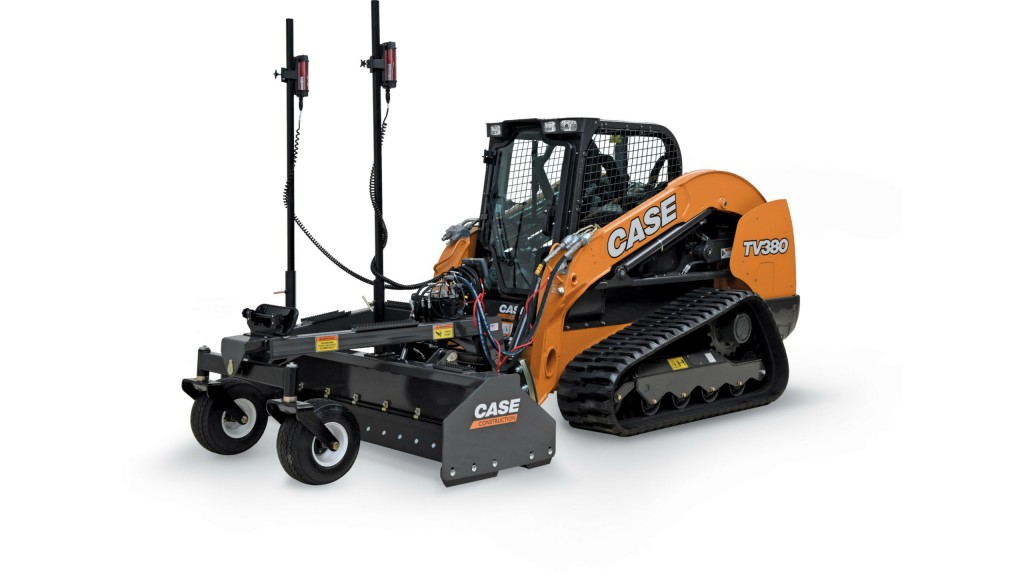 Case's all-new laser grading box attachment is their first precision-enabled attachment for skid steers and CTLs