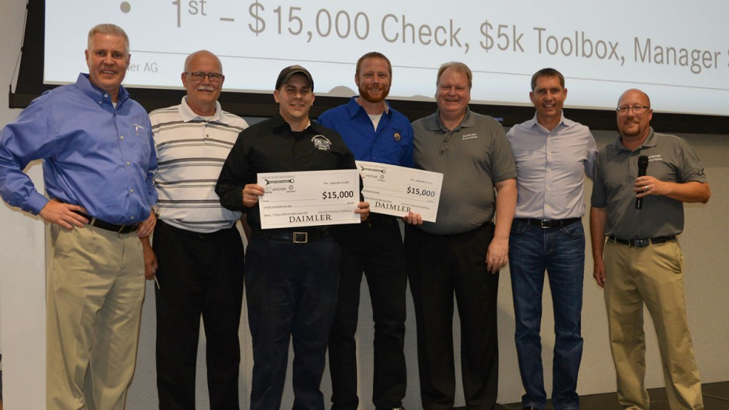 The first place winners were Travis Gannon of Lonestar Truck Group in Waco, Texas in the Vehicle Competition, and Terry Podralski of W.W. Williams Midwest LLC, in Akron, Ohio in the Engine Competition.