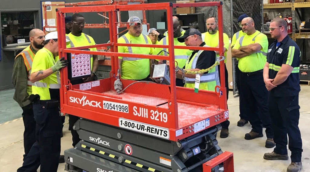 """""""We have a lot of Skyjacks in our fleet so it's extremely beneficial to have their team come out and donate their time to provide that first-hand technical service training,"""" says Stephen Howe, service and maintenance training manager at United Rentals."""