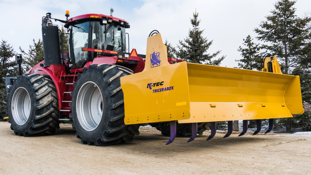 The K-Tec Tricerabox enables the tractor to become a more versatile and nimble piece of ground maintenance equipment than a crawler dozer.