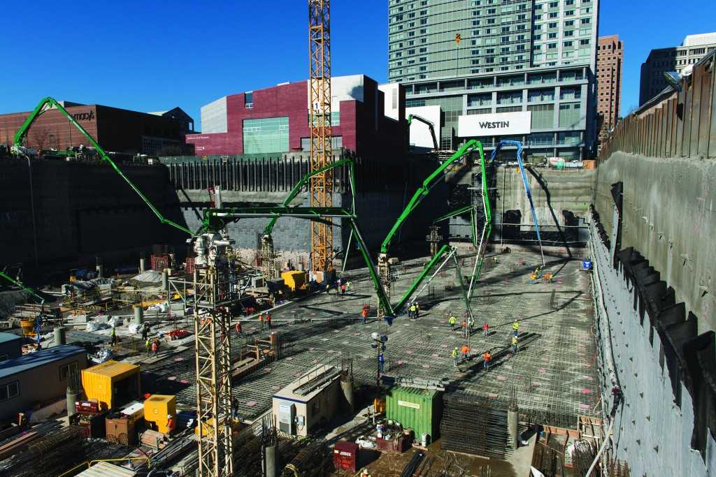 A new record for the largest continuous concrete pour was set in Washington state when 13,690 cubic yards (10,467m³) of concrete was placed in 24 hours for the foundation of the 450-foot (137.16m) tall north tower at Lincoln Square.