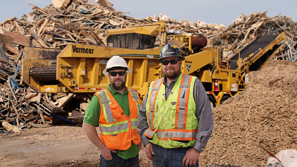 Mike Forsyth from WasteAway Recycling & Environmental, and Russ Cogar from Vermeer Canada, on site in Ontario with WasteAway's HG6000 HOG with Damage Defense system.