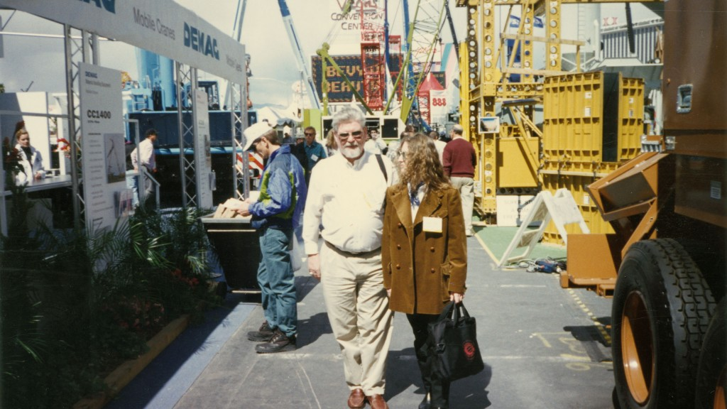 Engelbert Baum with his daughter Melina at CONEXPO in 1996.