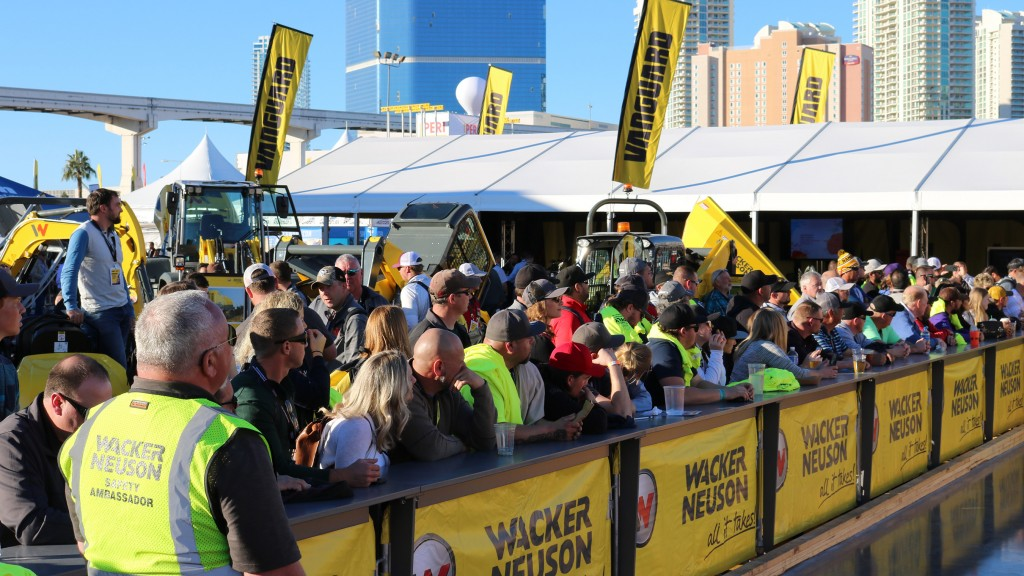Hundreds of show attendees watched Manuel Vasquez Flores navigate the 2019 Wacker Neuson Trowel Challenge course at the World of Concrete, January 25, 2019 in Las Vegas. Flores' ride-on trowel operating skills out-paced over 100 other participants in the popular competition.