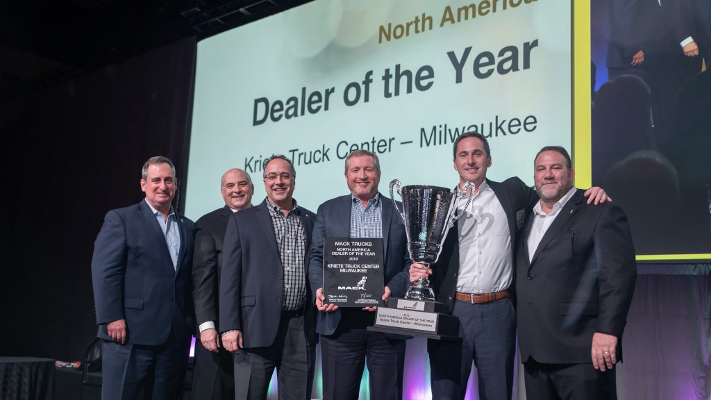 Mack Trucks named Kriete Truck Center of Milwaukee, Wisconsin its 2018 North American Dealer of the Year. Mack made the announcement during its annual dealer meeting, which brings together dealer leadership from the U.S. and Canada. From left to right: Martin Weissburg, president, Mack Trucks and member, Volvo Group Executive Board; Joseph Favia, regional vice president – central region, Mack Trucks; David Barletta, executive vice president and director, Mack truck sales, Kriete Group; Marty Dudenhoeffer, executive vice president, dealer operations, Kriete Group; David Kriete, owner, Kriete Group; Jonathan Randall, senior vice president, North American sales and marketing, Mack Trucks.