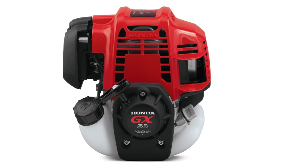 The all-new Honda GX50 general-purpose engine expands the company's Mini-Four Stroke lineup with a model that offers high output and light weight—extending into more demanding commercial and rental applications with excellent fuel efficiency.