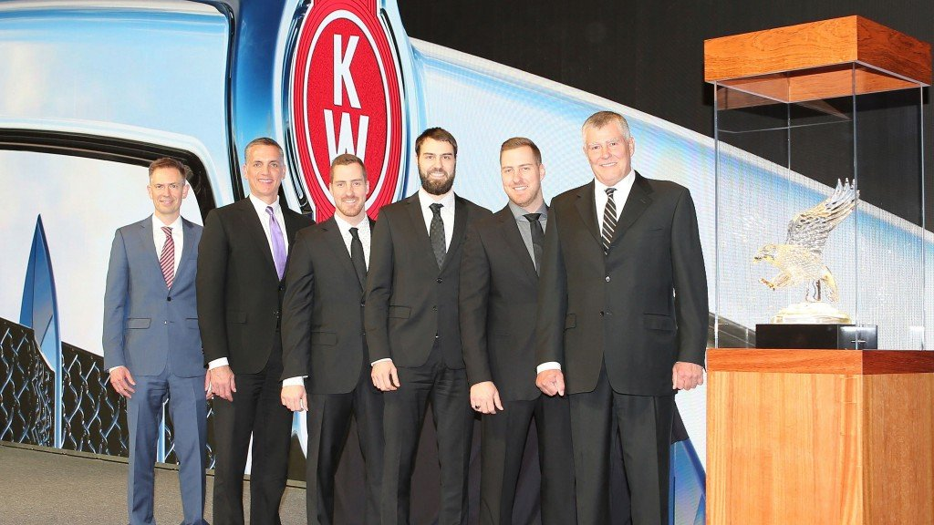 Kenworth Maska received the 2018 Kenworth Dealer of the Year Award for the United States and Canada. From left are Kevin Baney, Kenworth assistant general manager for sales and marketing; Mike Dozier, Kenworth general manager and PACCAR vice president; and Kenworth Maska executives Nicolas Letendre, Sébastien Letendre, Samuel Letendre, and Pierre Letendre.