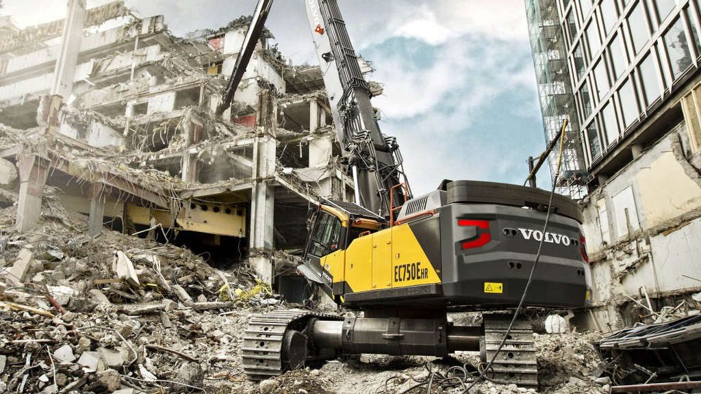 """The EC750E HR is based on our popular EC750E crawler excavator but has been substantially re-engineered for high-reach deconstruction purposes with a heavier and wider undercarriage and factory-fitted guarding,"" said Walter Reeves, sales manager for demolition products at Volvo Construction Equipment."