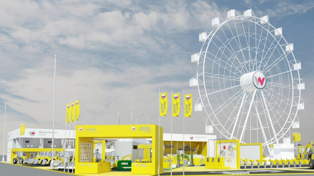 Numerous digital stations allow users to interact with machines in the virtual world, while a ride on the big wheel is guaranteed to put the perfect finish on the Wacker Neuson and Kramer experience at Bauma 2019.