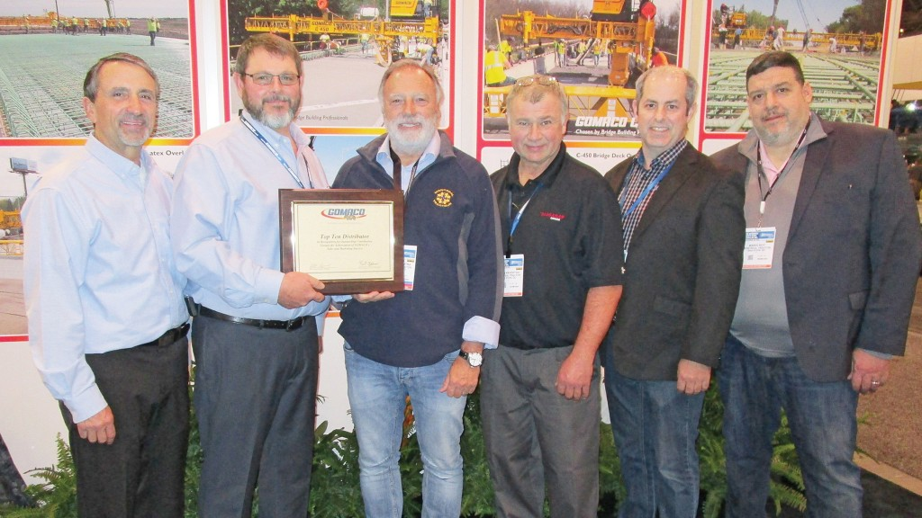 From left: Bob Leonard, GOMACO United States and Canada Sales Manager; Travis Brockman, GOMACO Canada District Manager; Enzo Masciotra, Montreal Tractor Inc.; Brian Keveryga, HMA Equipment Co. of Canada; and Max Petrin, and Mario Roy, Montreal Tractor Inc.