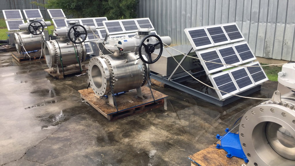 Rotork Site Services worked to assemble the solar panel then installed and configured the systems in the field.