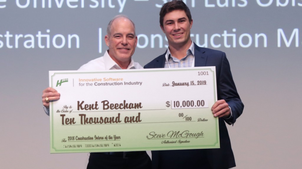 Beecham receives $10,000 grand prize scholarship in the $50,000 scholarship program acknowledging construction industry interns.