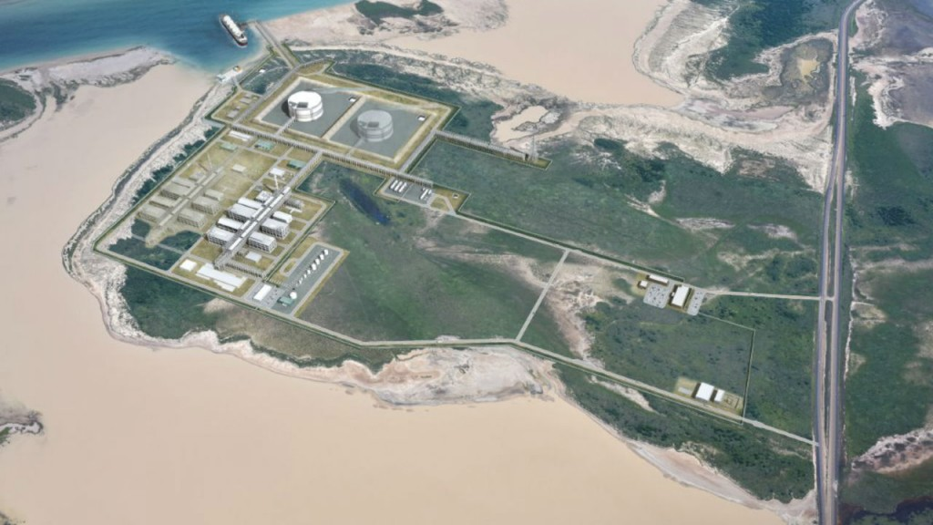 An artist's impression of the proposed Brownsville, TX LNG facility.