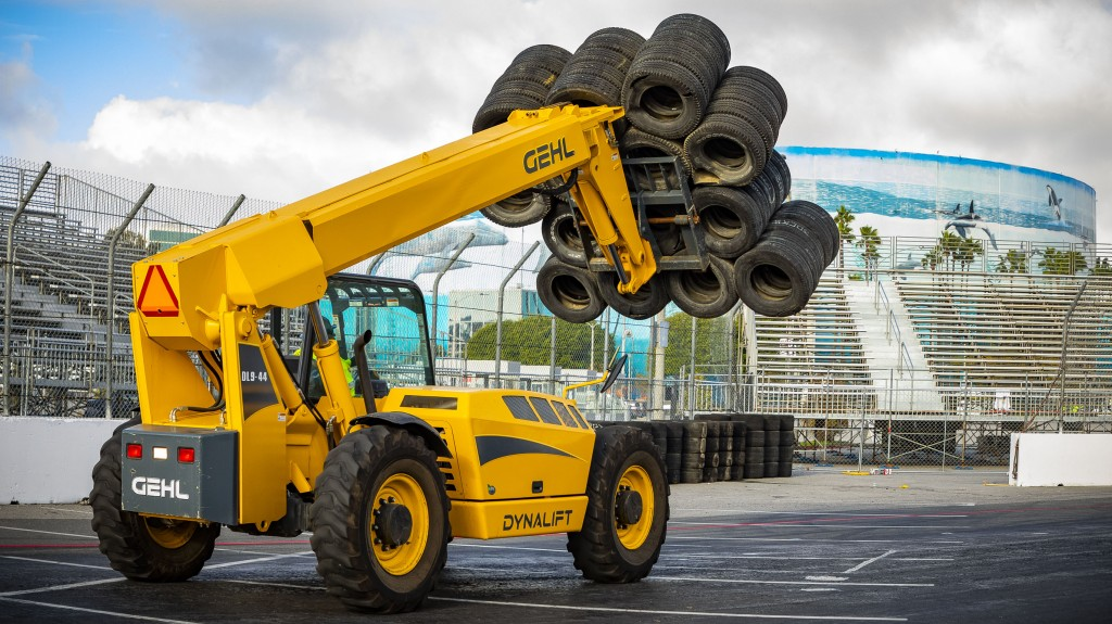 The Acura Grand Prix race course construction crews will use Gehl construction equipment to help move and position more than 2,400 concrete blocks weighing over 21 million pounds that are required to build the 1.97-mile street circuit.