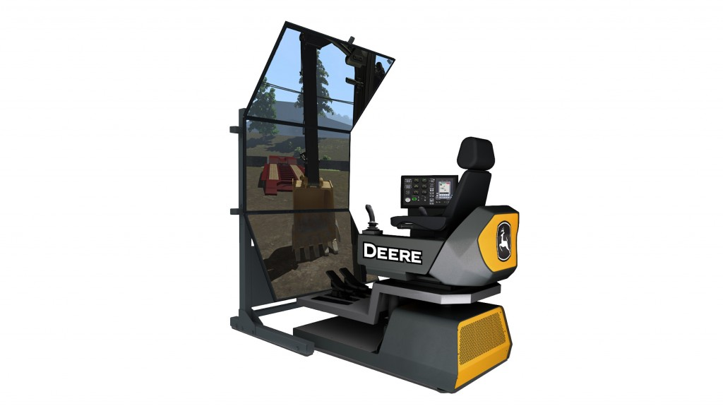 Based on actual John Deere equipment, the updated simulators feature swappable controls that allow for quick interchange of joysticks and foot pedals to multiple machine types.