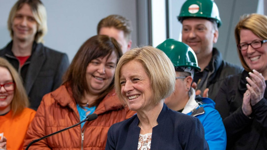 Alberta NDP leader Rachel Notley speaking at an event in Fort McMurray.
