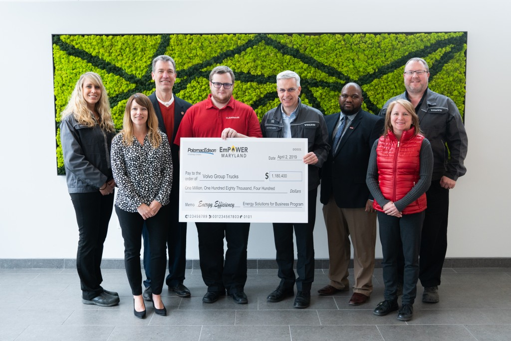 The Volvo Group's Hagerstown powertrain manufacturing facility received $1,180,400 in rebate incentives from Potomac Edison for a number of energy efficiency upgrades made at the site since 2016.