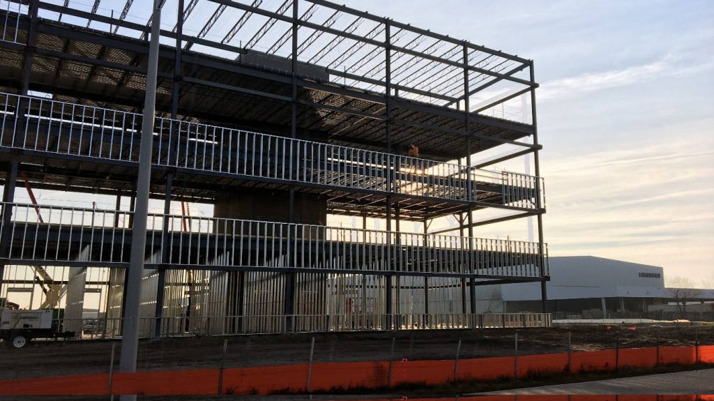 The final structural steel was recently placed on Liebherr's new administration building in Newport News, VA.