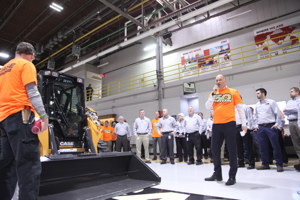 Global CASE and CNH Industrial leaders Carl Gustaf Göransson (president of construction, CNH Industrial), Larry Bryce (chief operating officer of construction equipment, CNH Industrial) and Marchand were on-hand to mark the milestone.