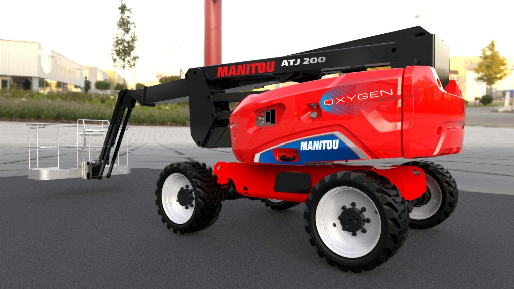 """Integrating seamlessly into the new """"Oxygen"""" label, the ATJ 200 e Oxygen platform is the group's first 100% electric all-terrain platform model."""