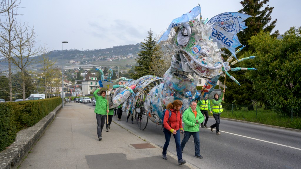 Greenpeace activists around the world ship plastic monsters back to Nestlé