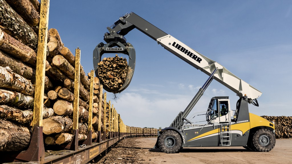 The LRS Log Handler handling timber on a sawmill site.
