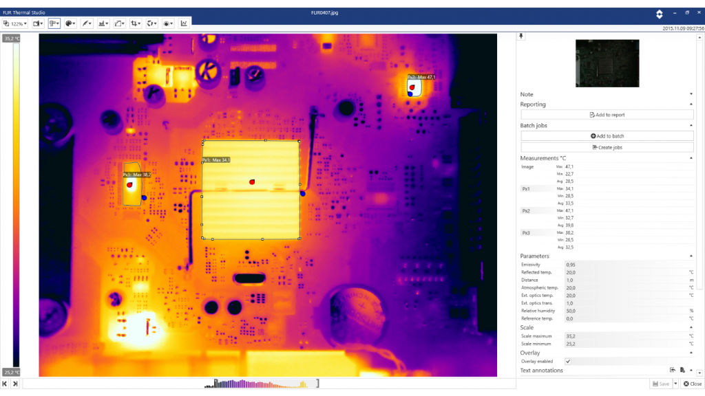 A screenshot from FLIR Thermal Studio.