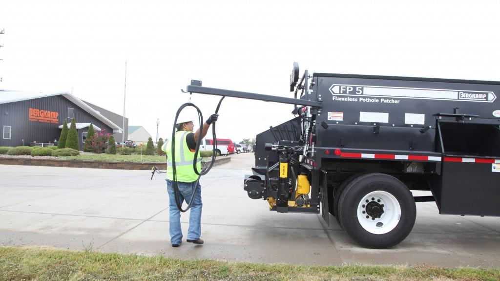 Bergkamp Pivot Tack System for FP5 Flameless Pothole Patcher eliminates tripping hazards and keeps tack off of equipment