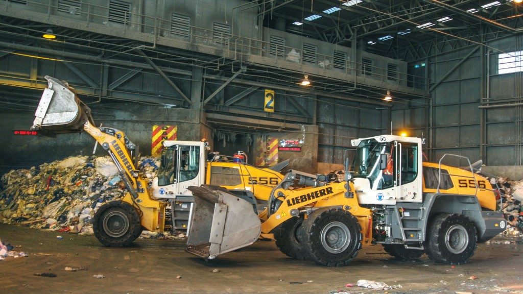 Liebherr L 556 wheel loaders working in a waste management environment.