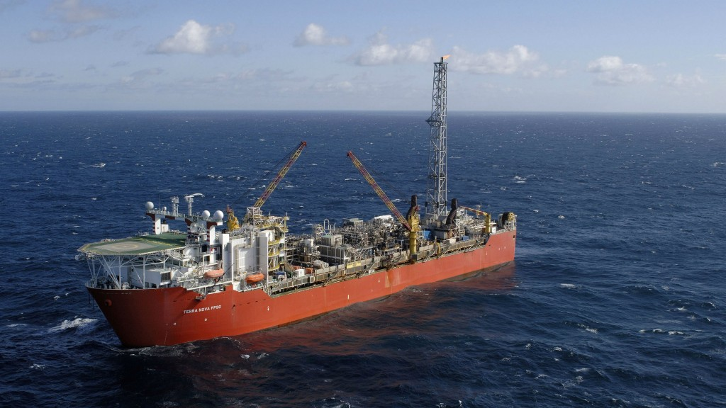 The Terra Nova field is 350 km east of Newfoundland; it is operated by Suncor, which holds a 37.6 percent interest. It is serviced by the Terra Nova FPSO.