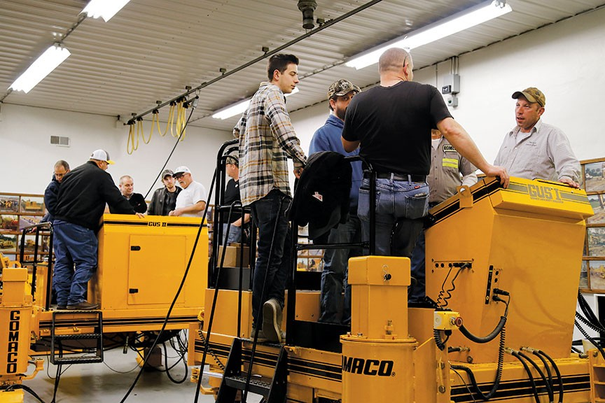 Field service technicians from the GOMACO Service Department teach hands-on skills and troubleshooting techniques in the shop portion of the classes each week. The University is equipped with several trainers for students to practice on, including GOMACO University Simulators, GUS I and II.