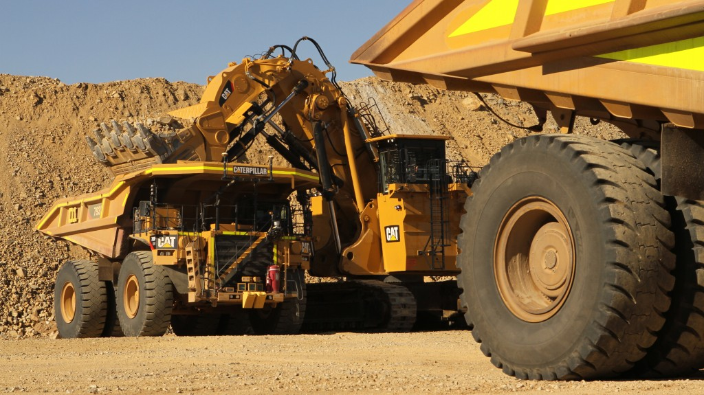 Caterpillar 793F mining truck at work in Koodaideri iron ore mine in Western Australia.