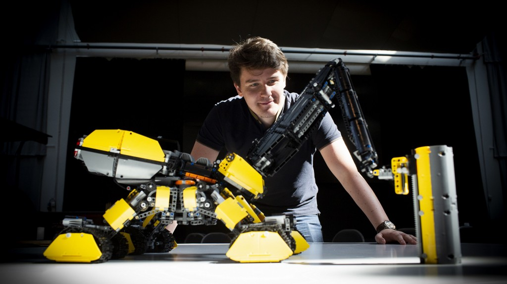 The grand prize-winning entry the autonomous Volvo Rottweiler, by Vida András, is fitted with a pneumatic drill, a dozer and a 3D printer.