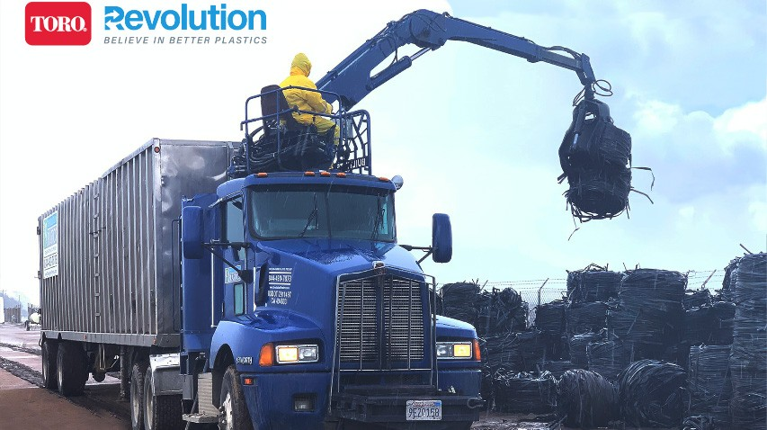 Toro's drip tape recycling service is a part of a completely closed-loop production process. Rather than sending the plastic waste to a landfill, Revolution picks up the used drip tape, cleans it, and makes recycled polyethylene resin.