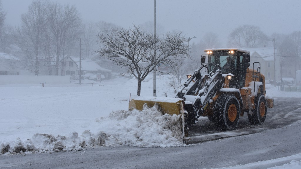 Steven Desmarais Construction uses a Hyundai HL955 wheel loader to clear a Milford, N.H., commercial parking lot during a late winter blizzard.
