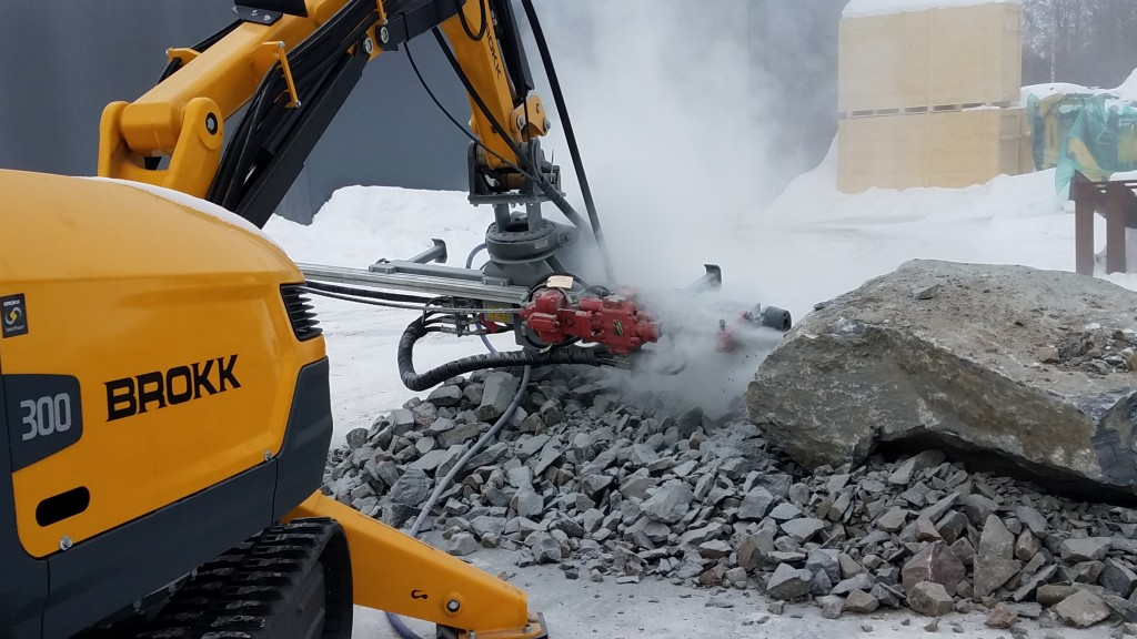 Brokk delivers a sleek, low-profile design and impressive power-to-weight ratio with the new MMB326 hydraulic drifter rock drill attachment from TEI Rock Drills.