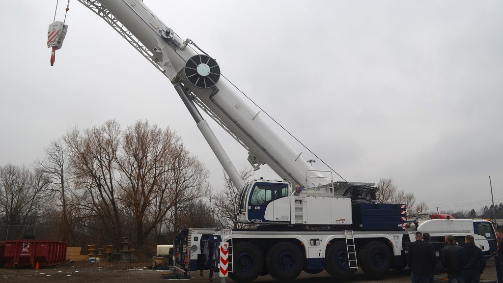 Terex AC 300-6 all terrain crane at worksite.