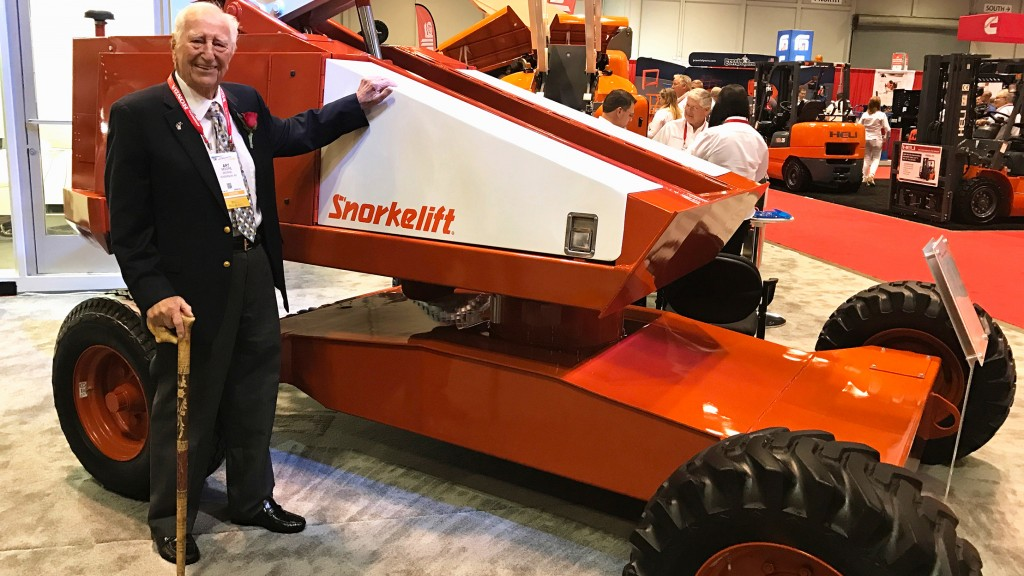 Art Moore and a Snorkel Lift machine.