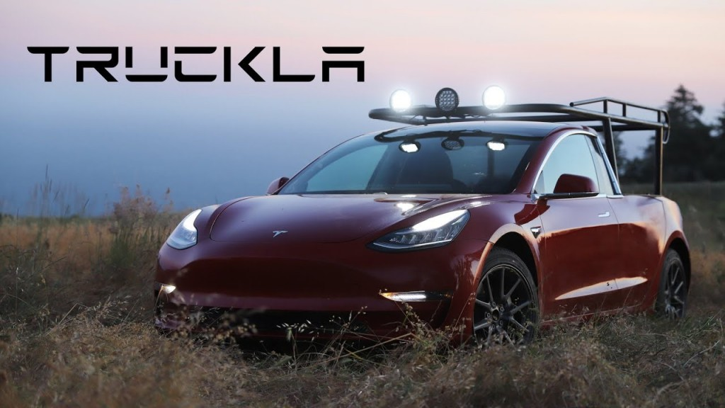 Truckla is the one-of-a-kind hack of a Tesla Model 3 headed by Swedish inventor Simone Giertz.